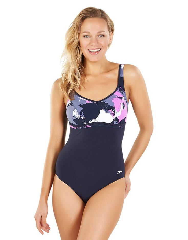 Speedo Sculpture Contourluxe Printed One Piece - Navy and Orchid
