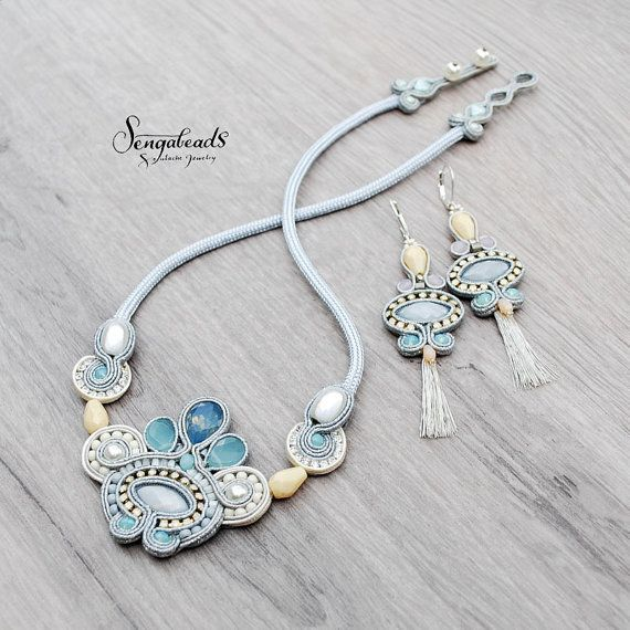 Hand embroidered soutache jewelry set. Soutache by Sengabeads