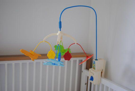 vintage crib mobile fisher price dancing animals kid. Black Bedroom Furniture Sets. Home Design Ideas