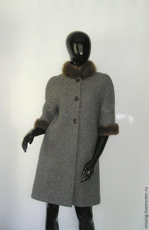 """Купить Пальто """"Грейс"""" - серый, однотонный, пальто из шерсти, пальто с мехом, мех бобра"""