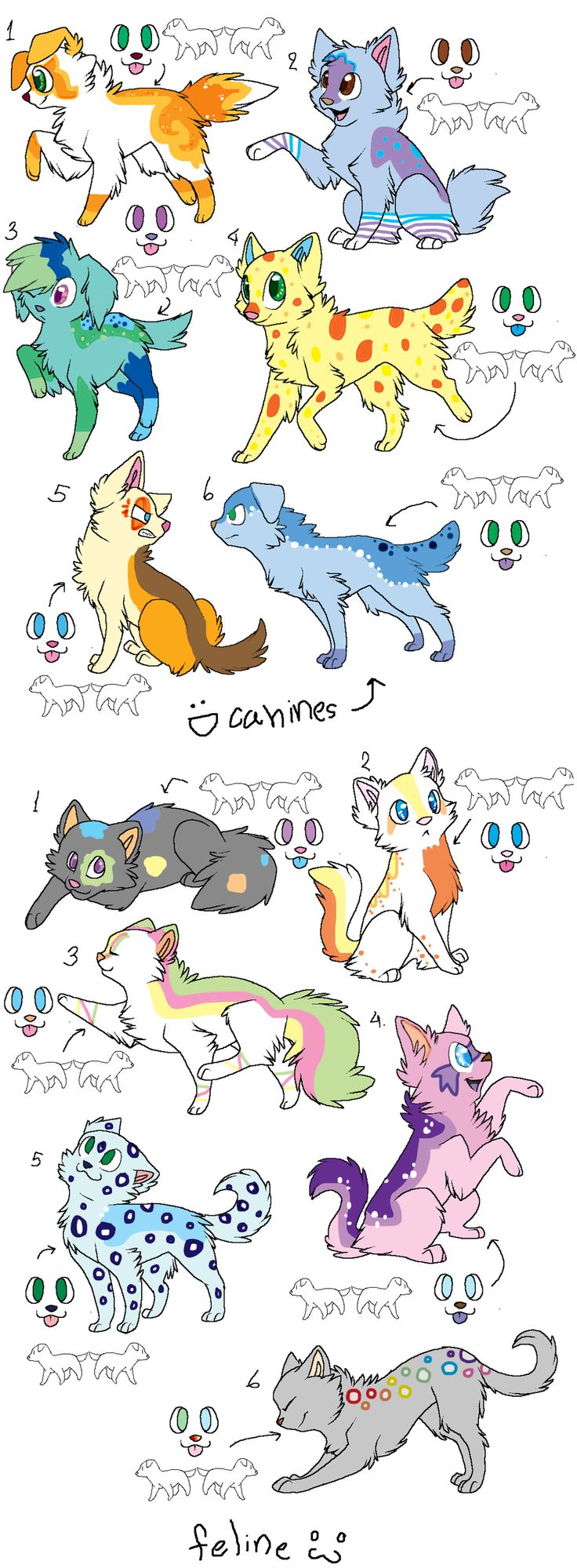 Canines 1 2 5 and 6 are mine Felines 1 2 3 and 6 are mine the rest are open