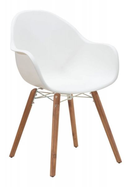 4 Tidal Modern White Polypropylene Wood Dining Chairs