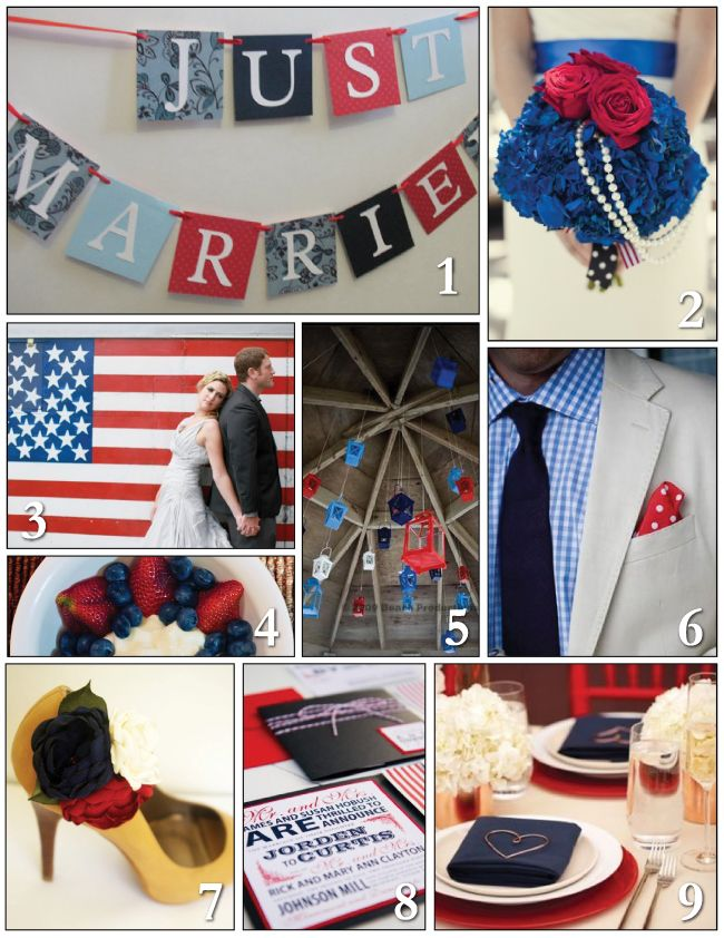 Red, white and blue wedding inspiration, just in time for the 4th of July - MYWVWEDDING.COM