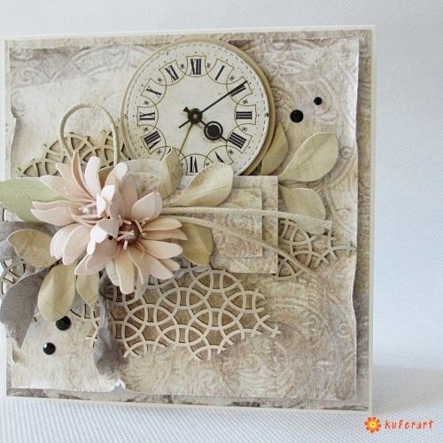 Pastelowa kartka zegar - Scrapbooking - Papier