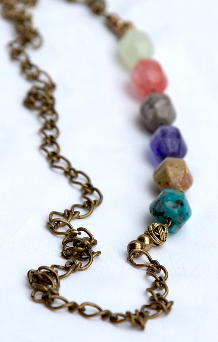 Mulit-colored Glass Bead Necklace. $40.00, via jenndubs on Etsy.
