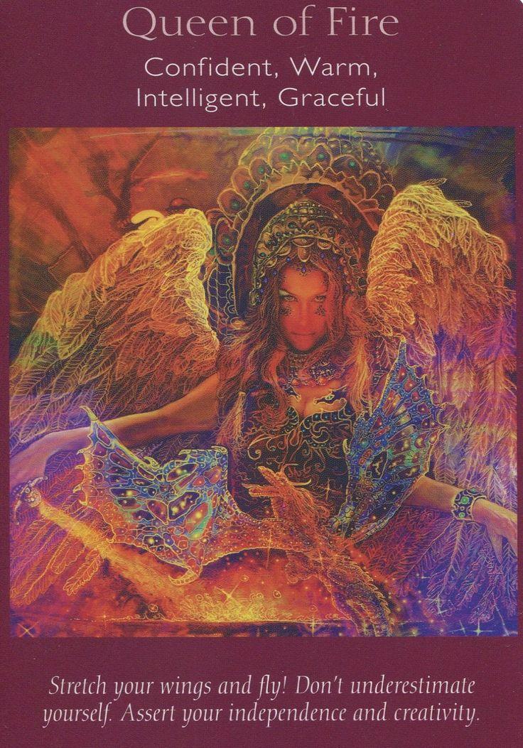 Angel tarot card queen of fire oracle cards tarot