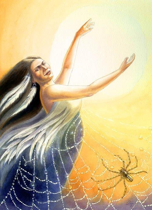 ✯ Unelanuhi .. The Cherokee sun goddess, she epitomizes radiant beauty, strength and power. By weaving her web, Grandmother Spider was able to haul Unelanuhi into the heavens, thus allowing Earth to thrive under her golden rays. :: By Lisa Hunt✯