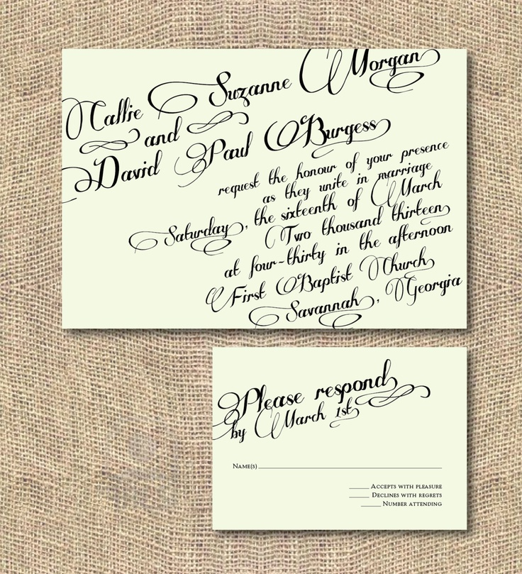 Printable Wedding Invitation - Vintage Calligraphy. $35.00, via Etsy.