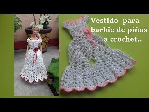 vestido para Barbie de piñas a crochet (parte 2) - YouTube