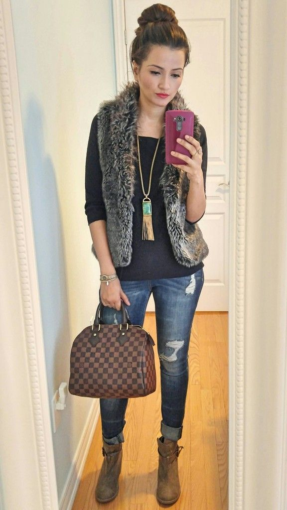 Fur vest, distressed jeans, speedy 25 damier ebene