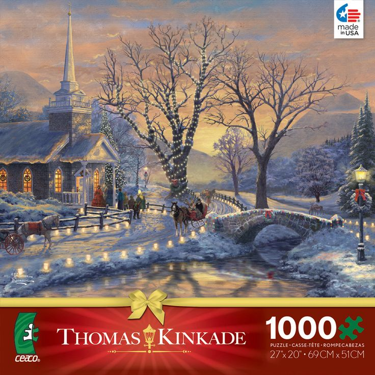 Thomas Kinkade Christmas Holiday Evening Sleigh Ride