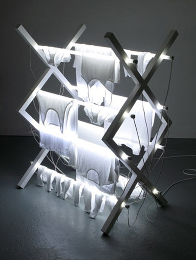 steve bishop: fluorescent art. Lights and dries at the same time!