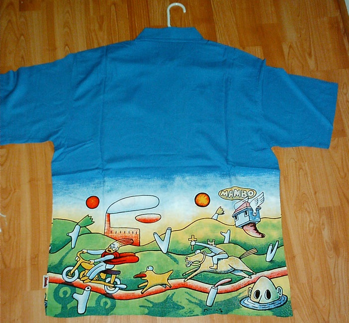 If you still have one of these classic shirts from mambo, hold on to it as they don't make them anymore. ..
