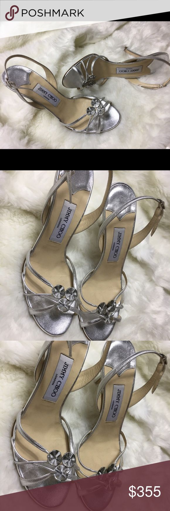 Sexy JIMMY CHOO metallic silver strappy sandals Gorgeous JIMMY CHOO metallic strappy sandals perfect for wedding occasions or any event party sz 39 VERO CUDIO made in Italy Jimmy Choo Shoes Sandals