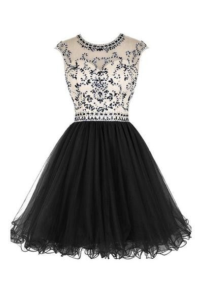 Bridal Beaded Backless Tulle Short Prom Dress Homecoming Dress Sexy Bridesmaid Dress ,Cheap Prom Dress