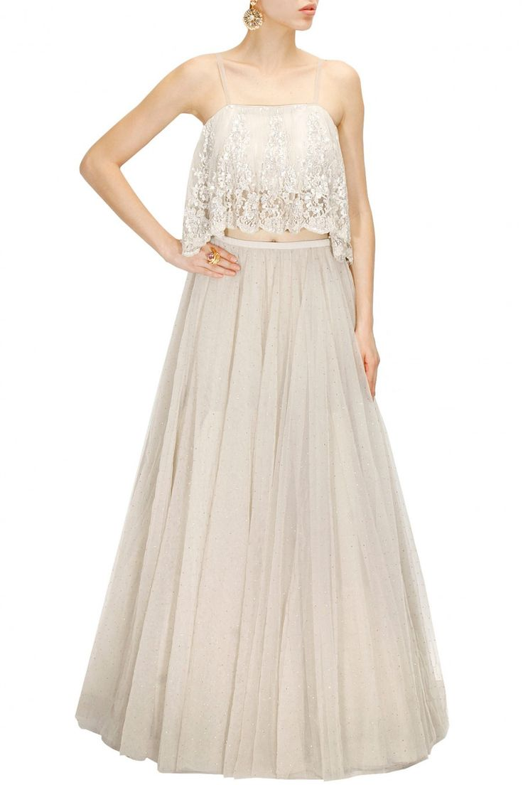 PAYAL SINGHAL Stone chantility lace top with mukaish embroidered lehenga available only at Pernia's Pop-Up Shop.
