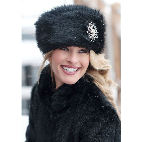 Black Fox Faux Fur Russian Hat (3.895 RUB) ❤ liked on Polyvore featuring accessories, hats, faux fur hats, fox hats and fake fur hats
