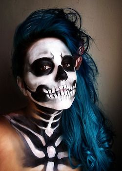 skull makeup + blue hair = awesome Halloween.....  HalloweenMarketplace.com for all your makeup or costumes ! !