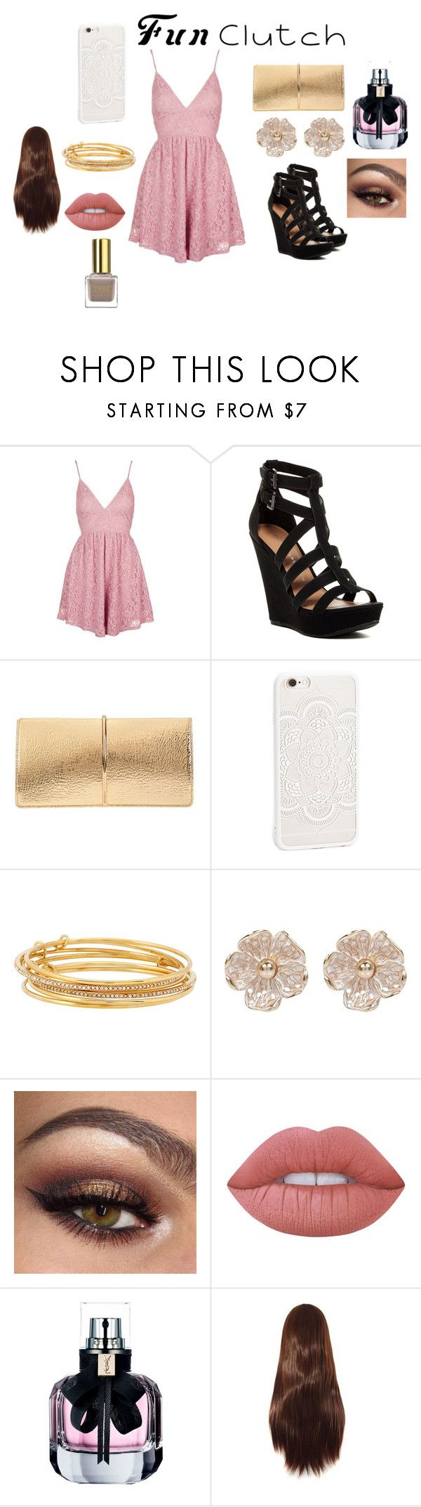"""""""Girly Date"""" by fashionistagirl9898 on Polyvore featuring Topshop, Chinese Laundry, Nina Ricci, JFR, Kate Spade, River Island, Lime Crime and Yves Saint Laurent"""