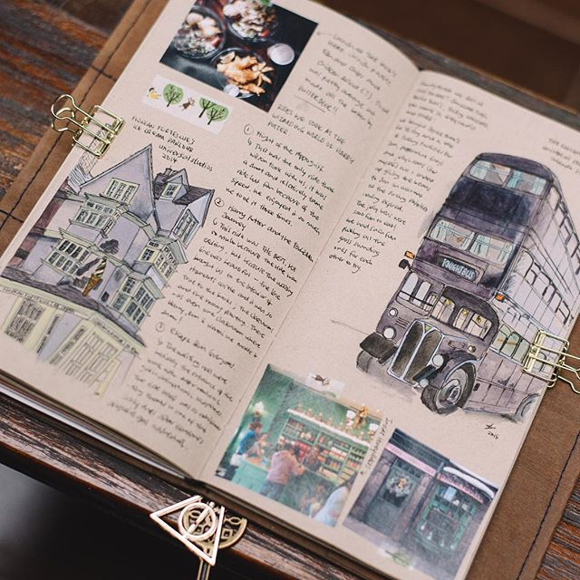 More travel notebook illustrations - The Knight Bus & Florean Fortescue's Icecream Parlour from the Wizarding World of Harry Potter #bnottee