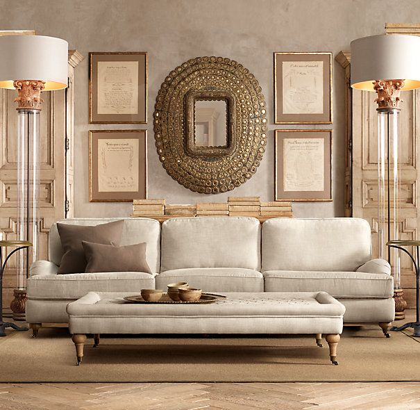 "Restoration Hardware Sofa Collection: 96"" English Roll Arm Upholstered Sofa"
