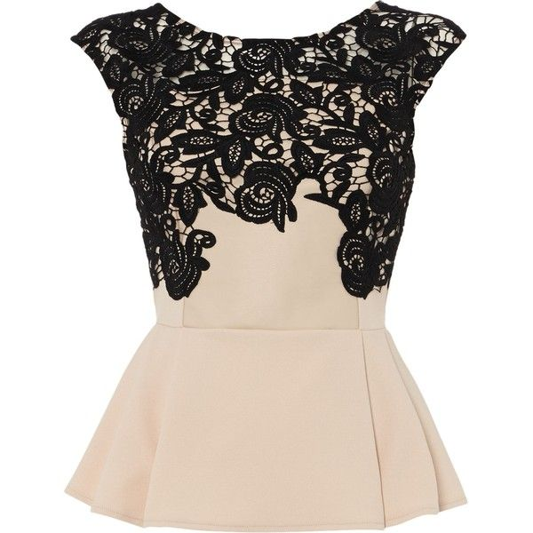 Lipsy Top lace applique peplum top ($28) ❤ liked on Polyvore featuring tops, shirts, nude, sale, pink top, round collar shirt, lace top, peplum tops and embroidered shirts