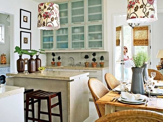 nice airy space: Fabrics Lampshades, Lamps Shades, Lights Fixtures, Beaches House Decor, Drums Shades, Cabinets Color, Beaches House Kitchens, Cabinets Ideas, Cabinets Doors
