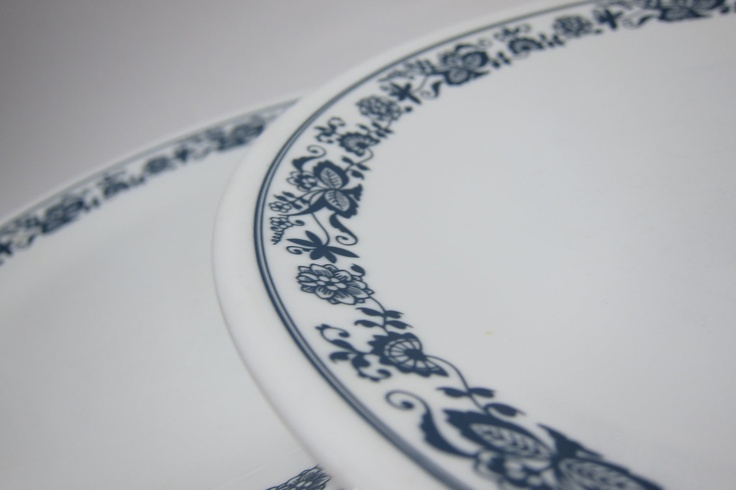 Vintage Corelle Plates by Corning White Plate Blue Trim Old Town Blue Classic 80s dishes Set of 8 Eight plates. $21.25, via Etsy.