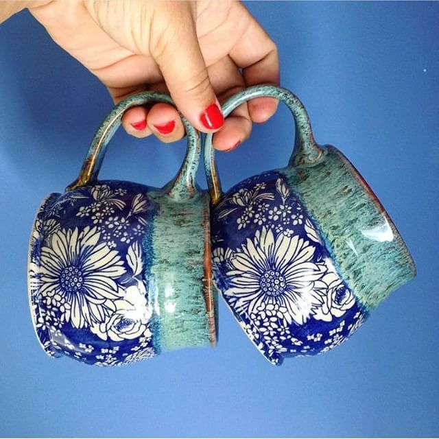 Creative and beautiful aqua colors handmade ceramic mugs, tea cups, coffee mugs, flowers floral hand painted
