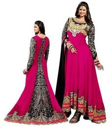 Buy Pink embroidered georgette unstitched salwar with dupatta party-wear-salwar-kameez online