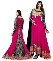 Buy Pink embroidered georgette unstitched salwar with dupatta party-wear-salwar-kameez online