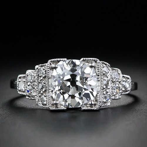 1.70 Carat Antique Cushion-Cut Engagement Ring in Platinum YES PLEASE!!