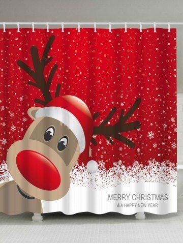 Waterproof Christmas Elk Bathroom Cartoon Curtain Christmas