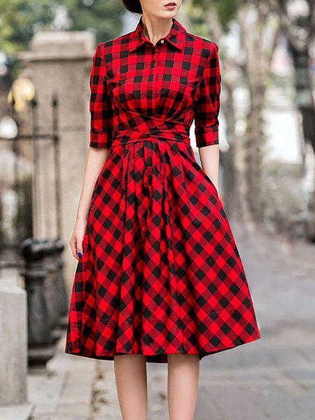 Shop Midi Dresses - Red A-line Spandex Printed Vintage Midi Dress online. Discover unique designers fashion at StyleWe.com.