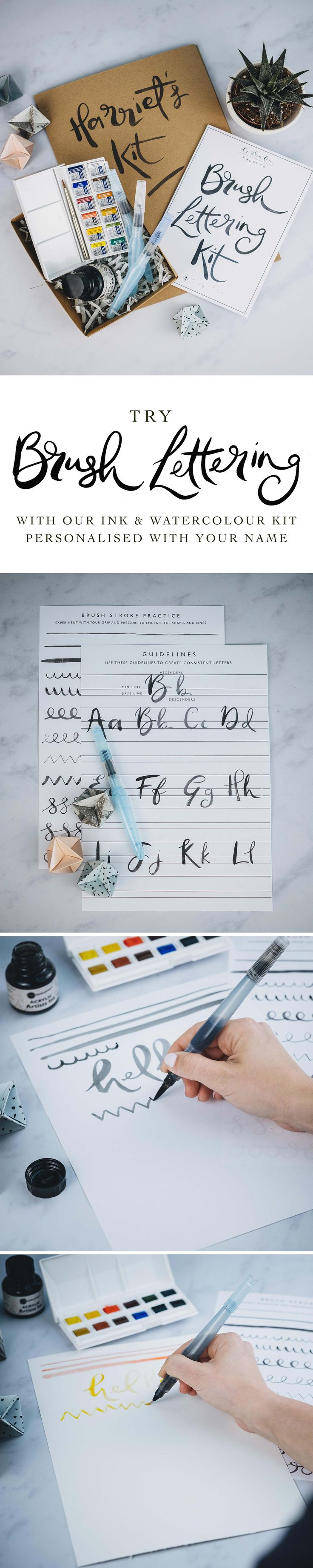 Brush up on your lettering skills with our personalised Brush Lettering Kit. Complete with 3 Pentel Aquash Brushes, Ink, Watercolours, guide booklet, worksheets and practice paper. Available in our Not on the High Street Store.