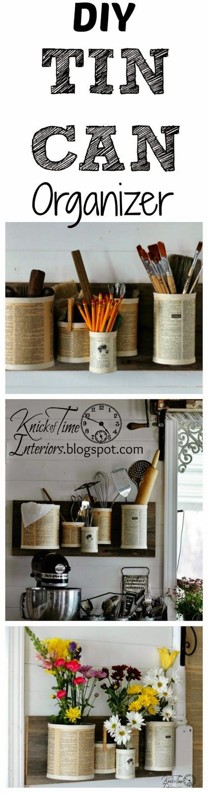 DIY Repurposed Recycled Tin Can Organizer by knickoftimeinteriors.blogspot.com