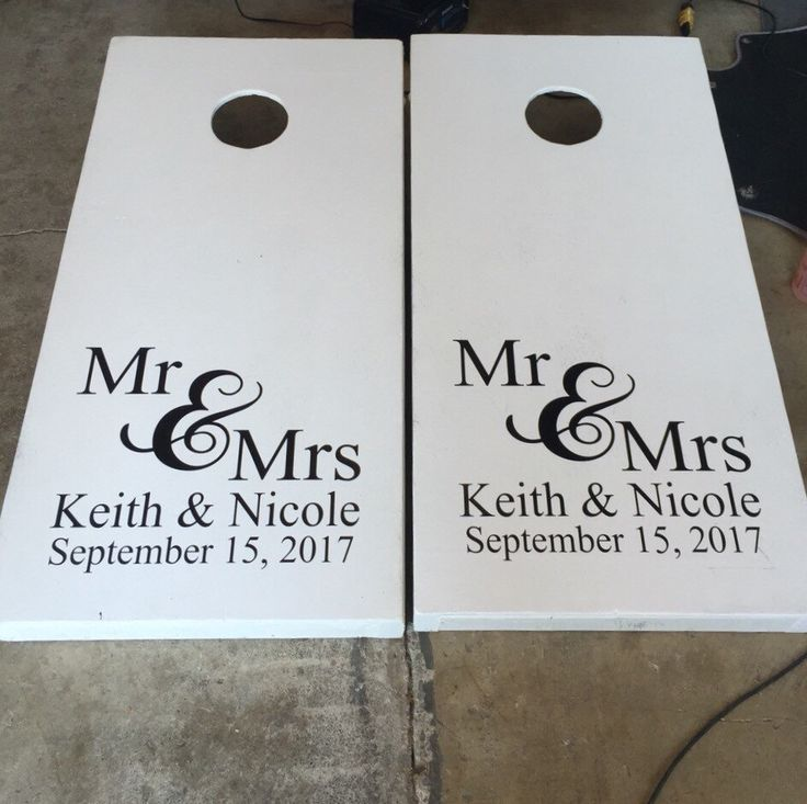 Personalized Decal Set Cornhole Board Decals Wedding Cornhole Decals Set of Two Vinyl Decals Cornhole Decals Wedding Names and Date Decals by CustomVinylbyBridge on Etsy https://www.etsy.com/listing/236602766/personalized-decal-set-cornhole-board