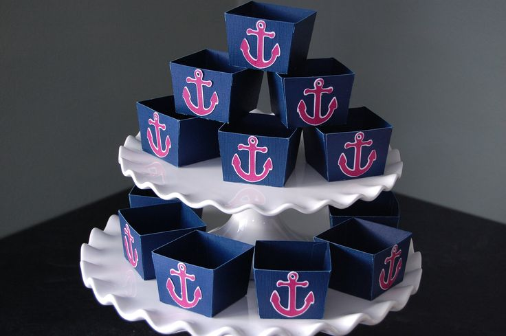 Anchor Candy Cups, Nautical Party Supplies, Nut Cups, Nautical Favors, Party, 12 Pcs, Navy, Hot Pink Anchors. $12.00, via Etsy.