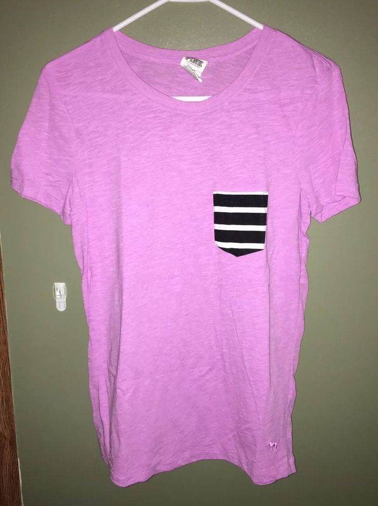 Victorias Secret PINK Tee T-Shirt Chevron Pocket Print Purple Size XS  | eBay
