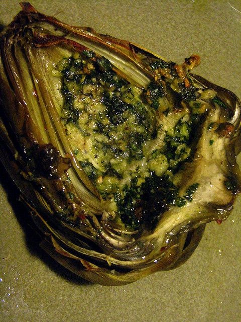 Artichoke stuffed with parsley, garlic and parmigiano by SeppySills, via Flickr