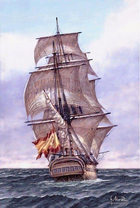 Pintura Militar y Naval: Navío San Genaro visto desde su Popa