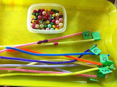 Putting the right amount of beads on numbered pipe cleaners.#Repin By:Pinterest++ for iPad#
