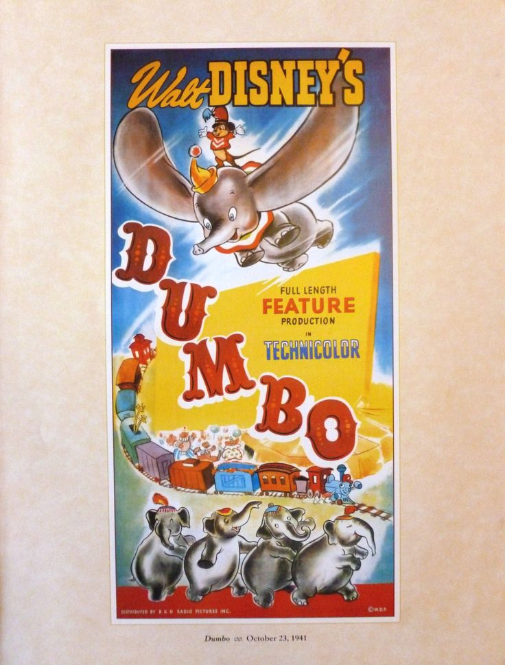 Vintage Disney Poster  Dumbo 14 x 11 inches  Vintage Disney Posters  RKO Radio  Not A Reprint  Dumbo the Elephant  Circus
