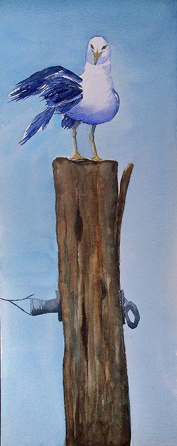'Gull on Pole' -  by Maria T St (beach, seashore, ocean, birds, watercolor)