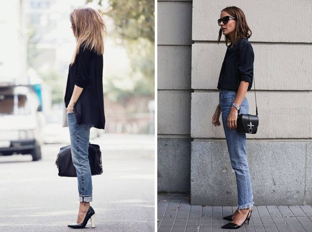 jeans naar kantoor, werk outfit, jeans en zwarte blazer, zwarte hakken, jeans office outfit