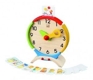 Jeu éducatif pour apprendre l'heure, à partir de 4 ans. En bois et conçu dans le respect des critères du commerce équitable.