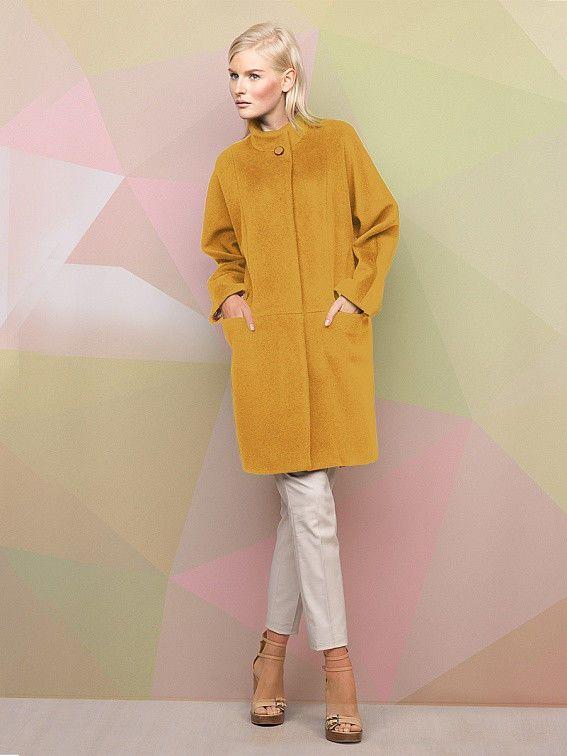 Пальто женское POMPA шерсть ворс золотой, фото 4