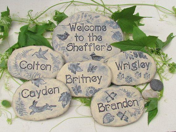 family gift names garden art sculptures handmade custom pottery wildlife designs