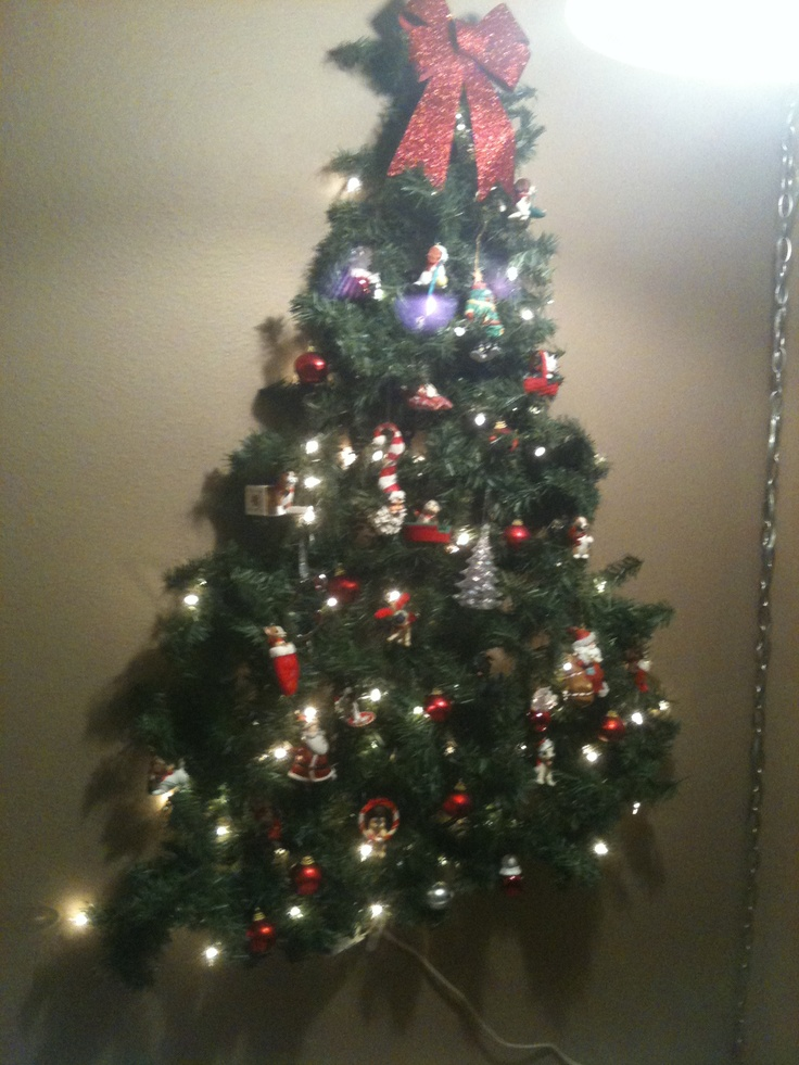 Kid friendly christmas tree on the wall command strip