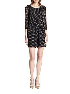 Armani Collezioni - Sequined Polka Dot Silk Short Jumpsuit